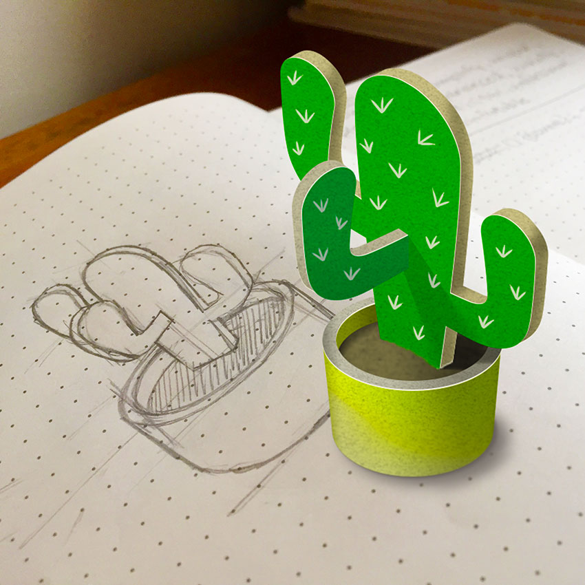 Sketch of cactus and final photoshop version
